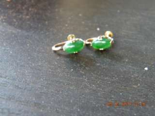 ANTIQUE/VINTAGE CHINESE GOLD GREEN JADEIET JADE EARRING