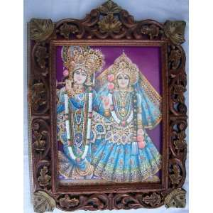Lord Radha Krishna in elegant traditional dress poster painting in