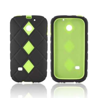 Lime Green Black Dual Layer Hard Plastic Silicone Case Cover For
