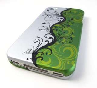 GREEN BLK SILVER VINES HARD SHELL CASE COVER APPLE IPHONE 4 4s PHONE