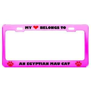 An Egyptian Mau Cat Pet Pink Metal License Plate Frame Tag