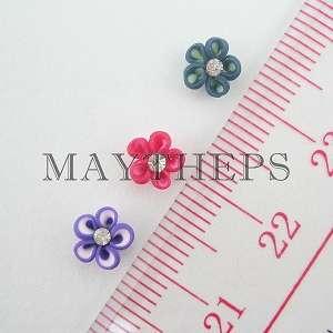 60 Ceramic Flower w/ Clear Rhinestones Nail Art Set F
