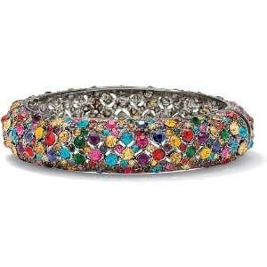 Neno Buscotti Black Ruthenium Multi colored Crystal Bangle