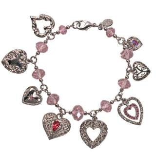 KIRKS FOLLY HEARTBREAKER CHARM BRACELET SILVER TONE UNIQUE HEART