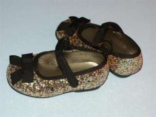 NEW CHILDRENS PLACE GIRLS GOLD GLITTER SHOES FLATS 5