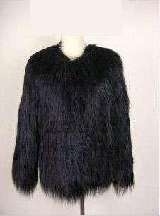 Hairy Celeb Woman Black Long Full Sleeve Yarns Favor Faux Fur Jacket