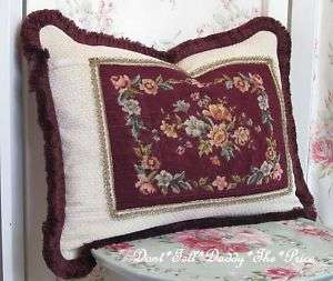 VICTORIAN Accent Pillow Hand Stitched ANTIQUE Needle PETITE POINT Wire