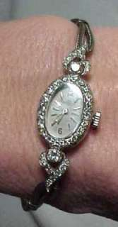 Vintage Ladies Movado White Gold Diamonds Watch