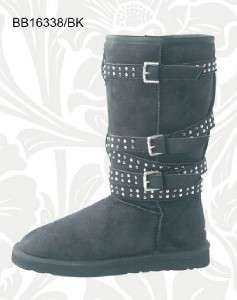 Ladies Classic Tall Faux Suede Fur Buckle Boots BLK  Ug |