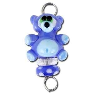 Handmade Blue Teddy Bear Baby Spoon Lampwork Bead Set