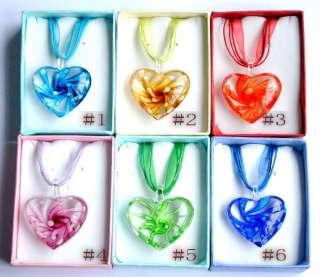 Heart Flower Inside Clear Murano Lampwork Glass Pendant Necklace