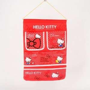 Hello Kitty Hanging Storage Bag Case Pocket Red