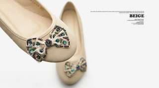 New Womens Shoes Ballet Low Heels Flats Loafers Cute RhineStones Multi