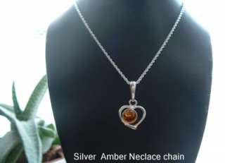925 Sterling Silver Baltic Amber Pendant necklace Chain 18ins long