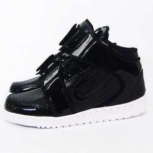 Mens Black Strap Shiny High Top Sneakers Shoes US 7~10