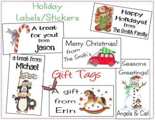 Personalized CHRISTMAS HOLIDAY Gift Labels or GIft Tags