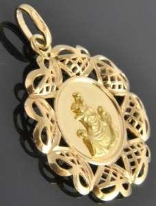 Italian Estate Vtg 18K Yellow Gold Holy Communion Religious Medal