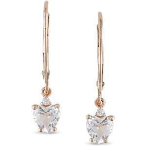 10k Pink Gold Morganite Diamond Acccent Earrings Jewelry