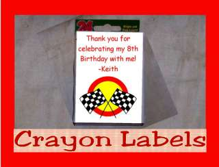 Hot Rod Car Racing Birthday Party Crayon Favor Labels Personalized