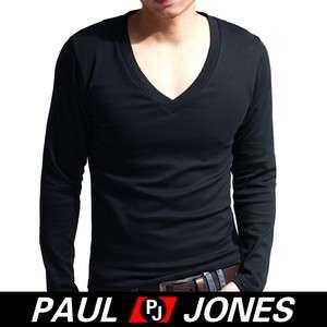 PJ New Mens Slim Fit Cotton Deep V Neck Long Sleeve Casual T Shirt