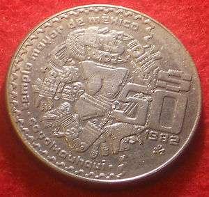 Mexico 1982 $ 50 Pesos Coin Coyolxouhqui Templo Mayor
