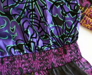 Hale Bob Silk Stretch Drop Waist Dress M 8 10 UK 12 14 NWT $283 Purple