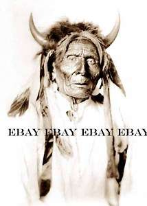 PHOTO OF NATIVE AMERICAN INDIAN CHIEF MEDICINE MAN WITH HORNS