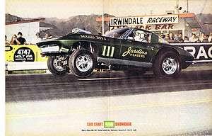 Vintage NHRA IHRA AHRA Drag Racing Chevy Corvette funny car Irwindale