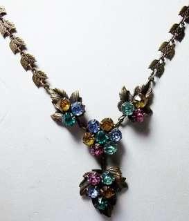 Czech Art Deco Rhinestone Flowers & Leaves Lavaliere Necklace