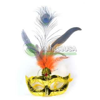 Yellow Feather flower venetian masquerade party mask