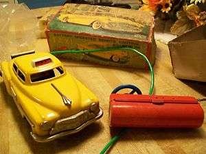 Vintage Buick Tin Toy Car Battery Op LINEMAR MARX TAXI CAB LIGHT&HORN