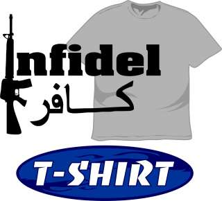 Infidel T Shirt Military Arabic 4 Armed Services as Army Marines w