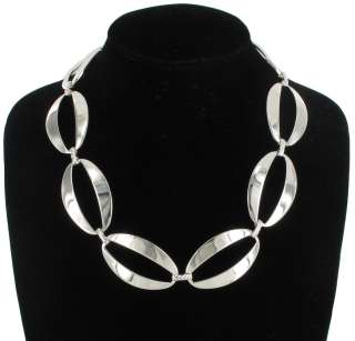 Sterling Silver SP Large Linked Necklace Choker Statement Made in USA