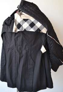 NWT BURBERRY BRIT BLACK NOVA CHECK BALMORAL TRENCH COAT JACKET~8 42