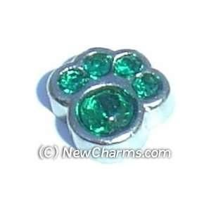 Paw Birthstone May Floating Locket Charm Jewelry