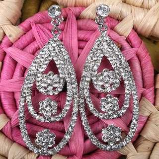 2p@ White Crystal Rhinestone Chandelier Dangle Earrings