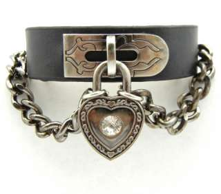 Gothic Punk Rock Biker Heart Lock Leather Cuff Bracelet Wristband