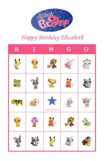 Littlest Pet Shop Birthday Party Game Bingo Cards
