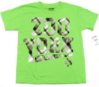 ZOO YORK Boys Lime Green/Gray Plaid Logo Tee Shirt NWT
