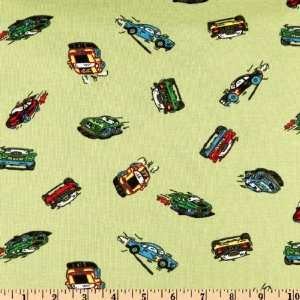 56 Wide Cotton/Lycra Rib Kit Racecars Green Fabric By