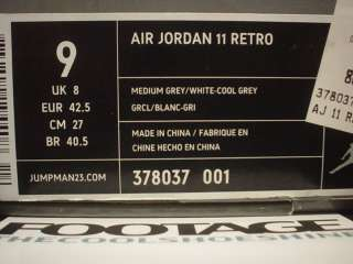 2010 Nike Air Jordan XI 11 Retro MEDIUM GREY WHITE COOL GREY PATENT
