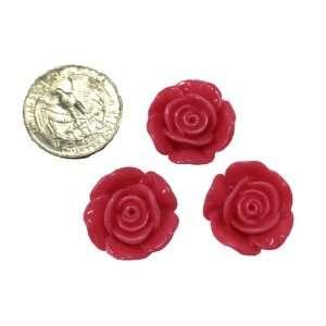 3 Piece Hot Pink Rose Flower Flat Back Resin Cabochos DT21