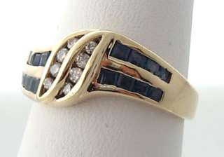Estate Natural Blue Sapphires Diamonds 14k Gold Band