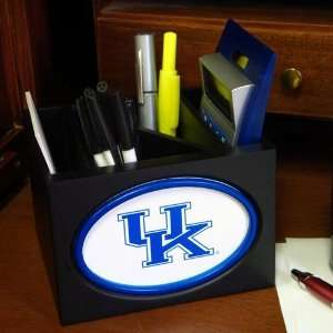 Kentucky Wildcats Black Wooden Team Logo Desktop Organizer