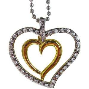 Two tone Gold Overlay Crystal Extra Large Heart Necklace Jewelry