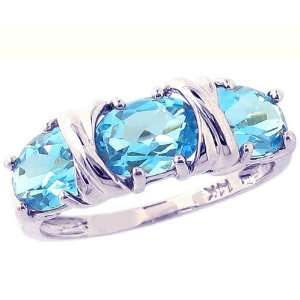 14K White Gold Hugs and Big Kisses Oval Gemstone Ring Swiss Blue Topaz