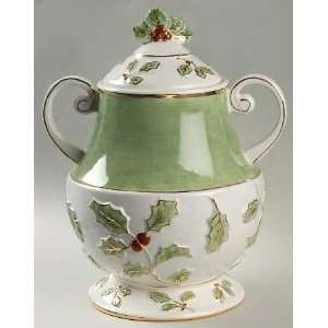 Holly And Berry Gold Cookie Jar and Lid, Fine China Dinnerware