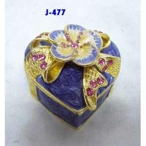 Periwinkle Blue Enamel Heart Jewelry Trinket Box With