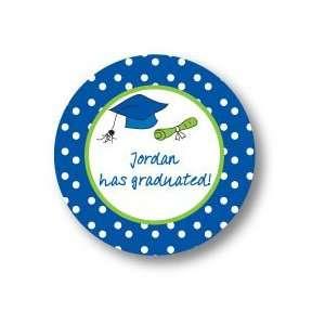 Polka Dot Pear Design   Round Stickers (Graduation Time