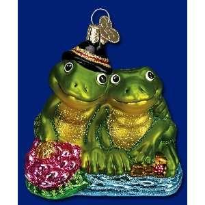 Mercks Family Old World Christmas glass ornament frog couple Froggy